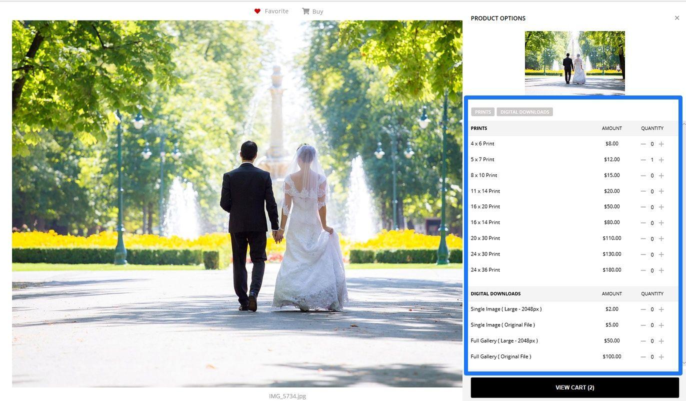pixpa client album print order