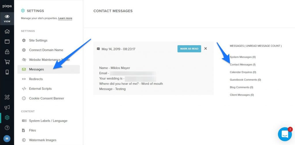 Contact messages listed on Pixpa dashboard
