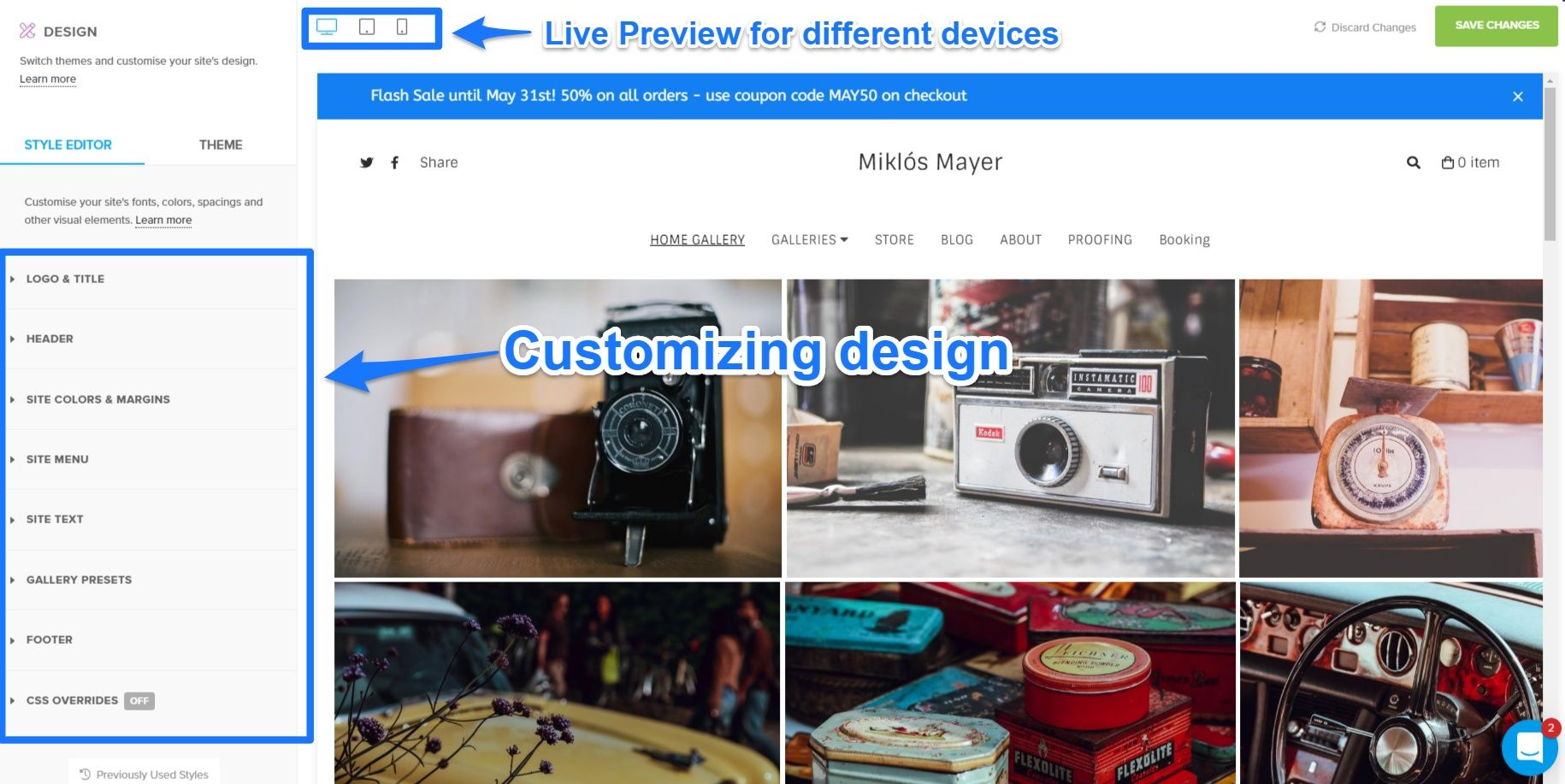 pixpa customize design window