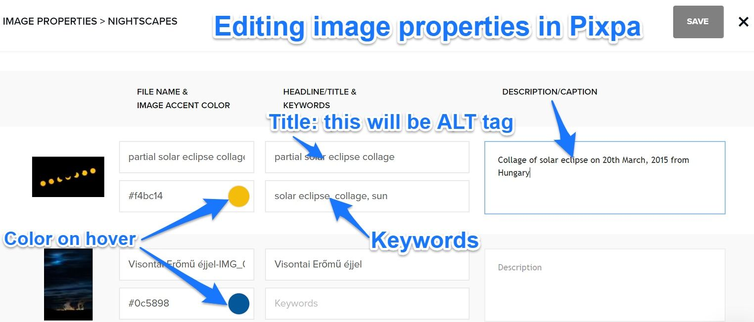 editing image properties for SEO