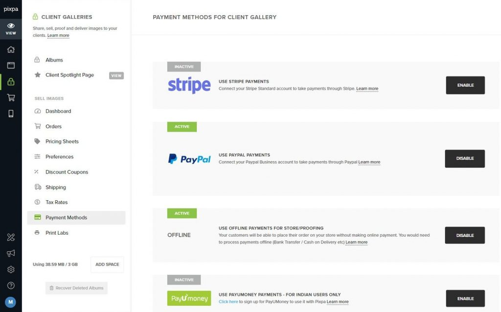 pixpa payment gateways setup