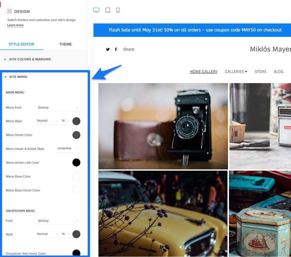 pixpa site menu customize desig