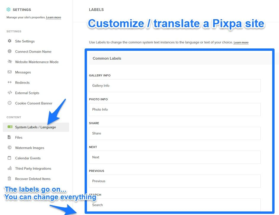 Customizing / translating system labels for your Pixpa site