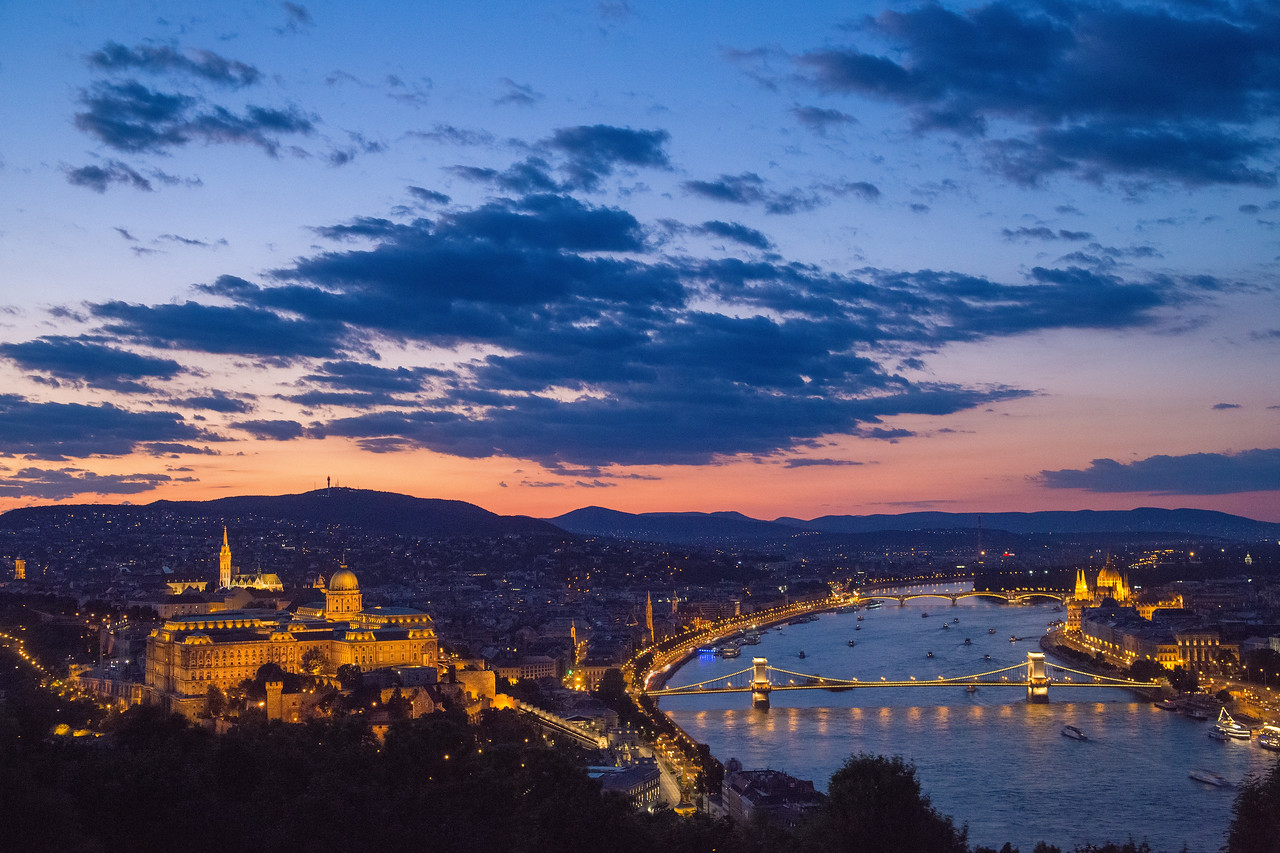 buda castle and chain bridge from Citadel at night median stack 8 frames