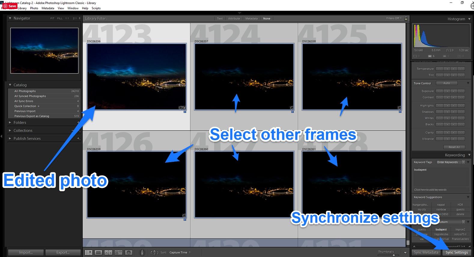 adobe lightroom synchronize settings