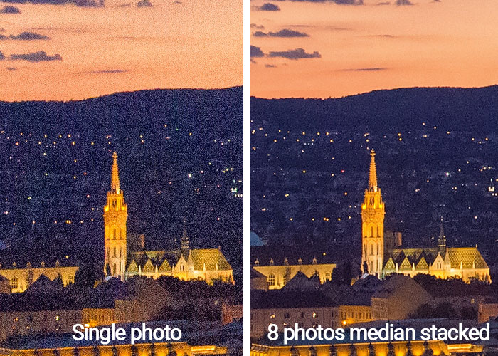 median stacking before-after photoshop