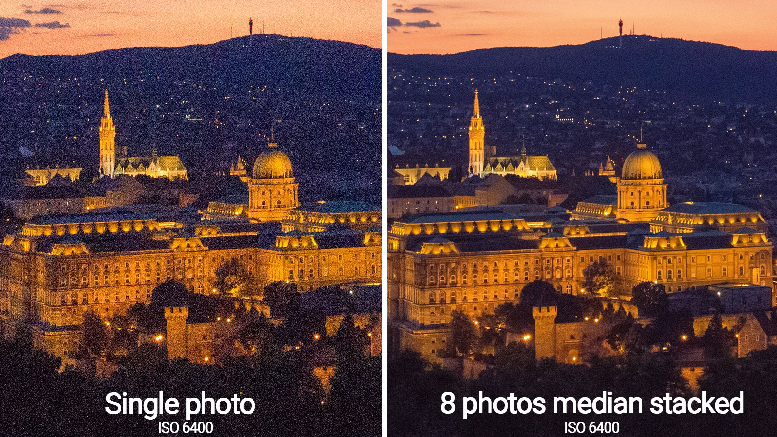 median stacking noise reduction before-after photoshop