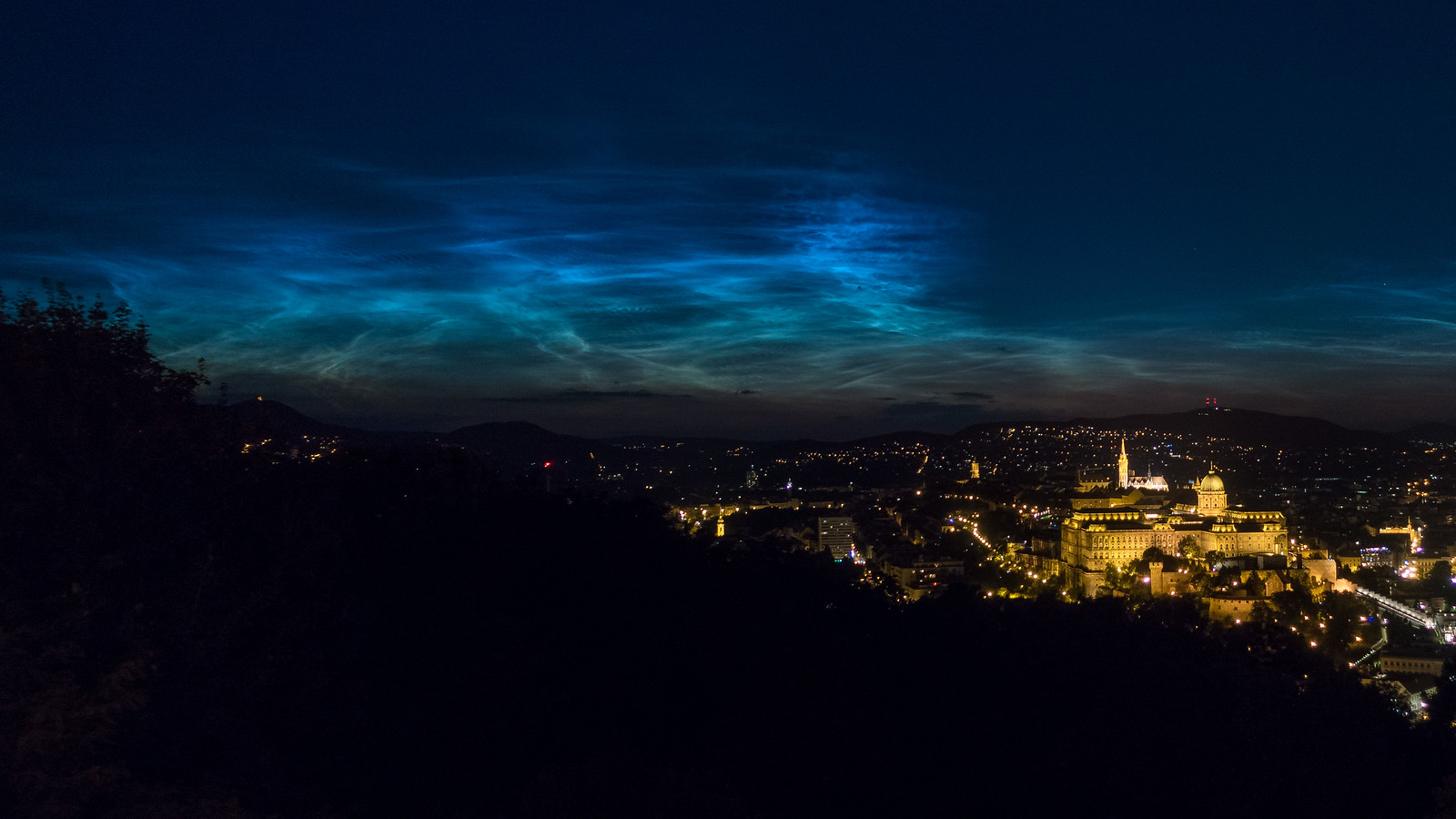 noctilucent clouds from Citadel above Buda Castle