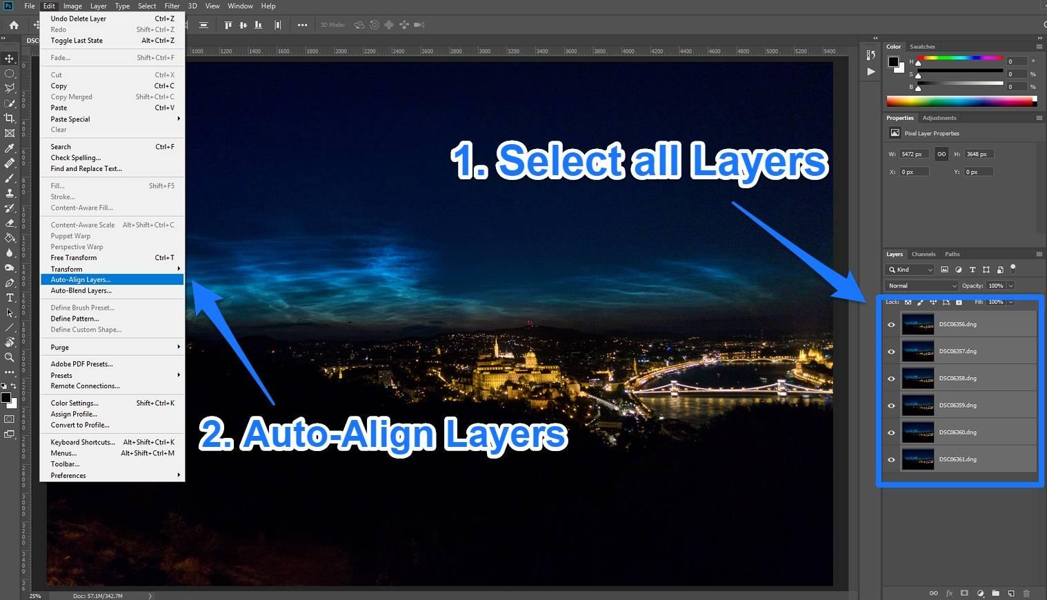 photoshop auto align layers
