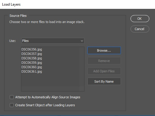 photoshop load layers into stack window