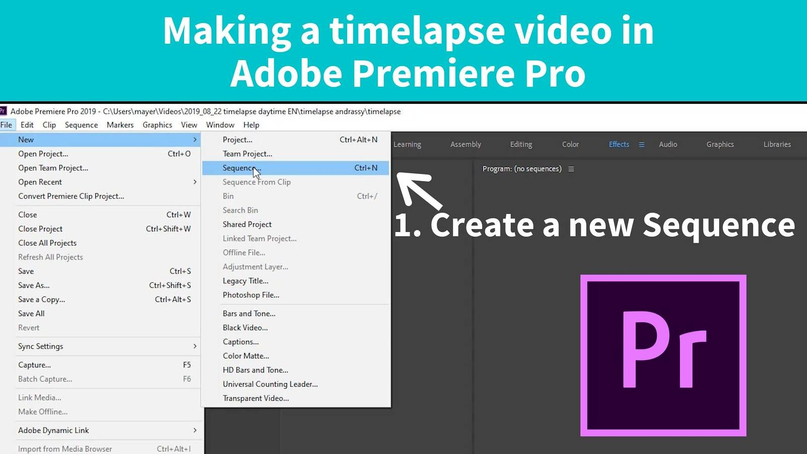 premiere pro create new sequence