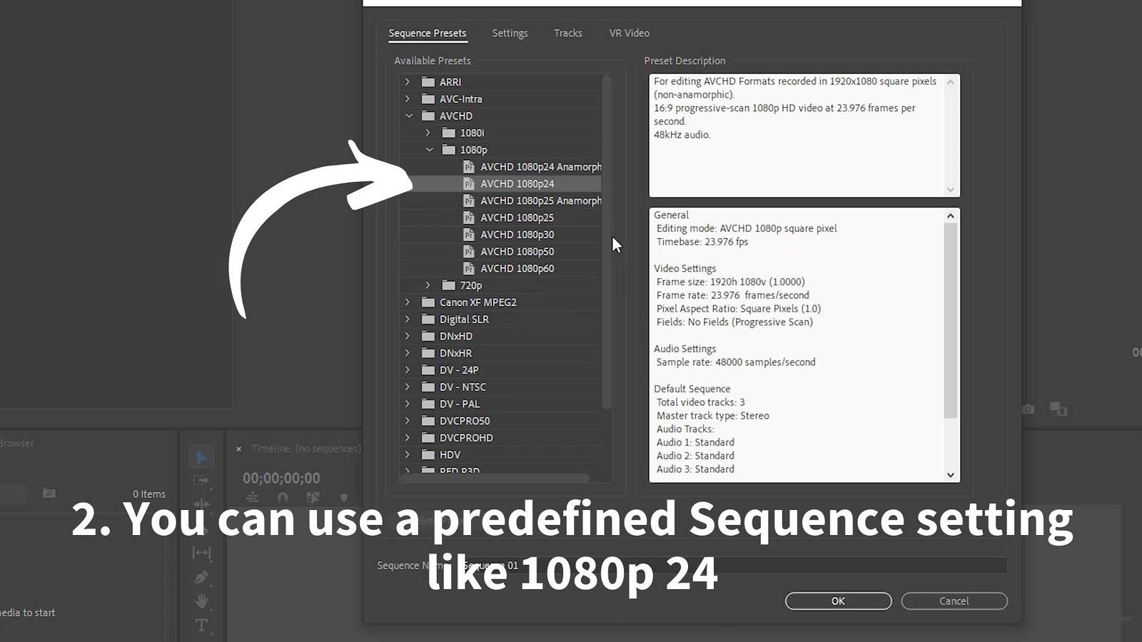 premiere predefined sequence settings