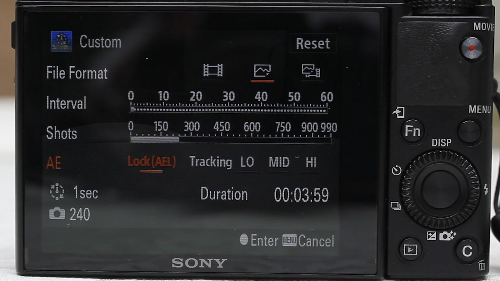 sony rx100 iii timelapse program setup