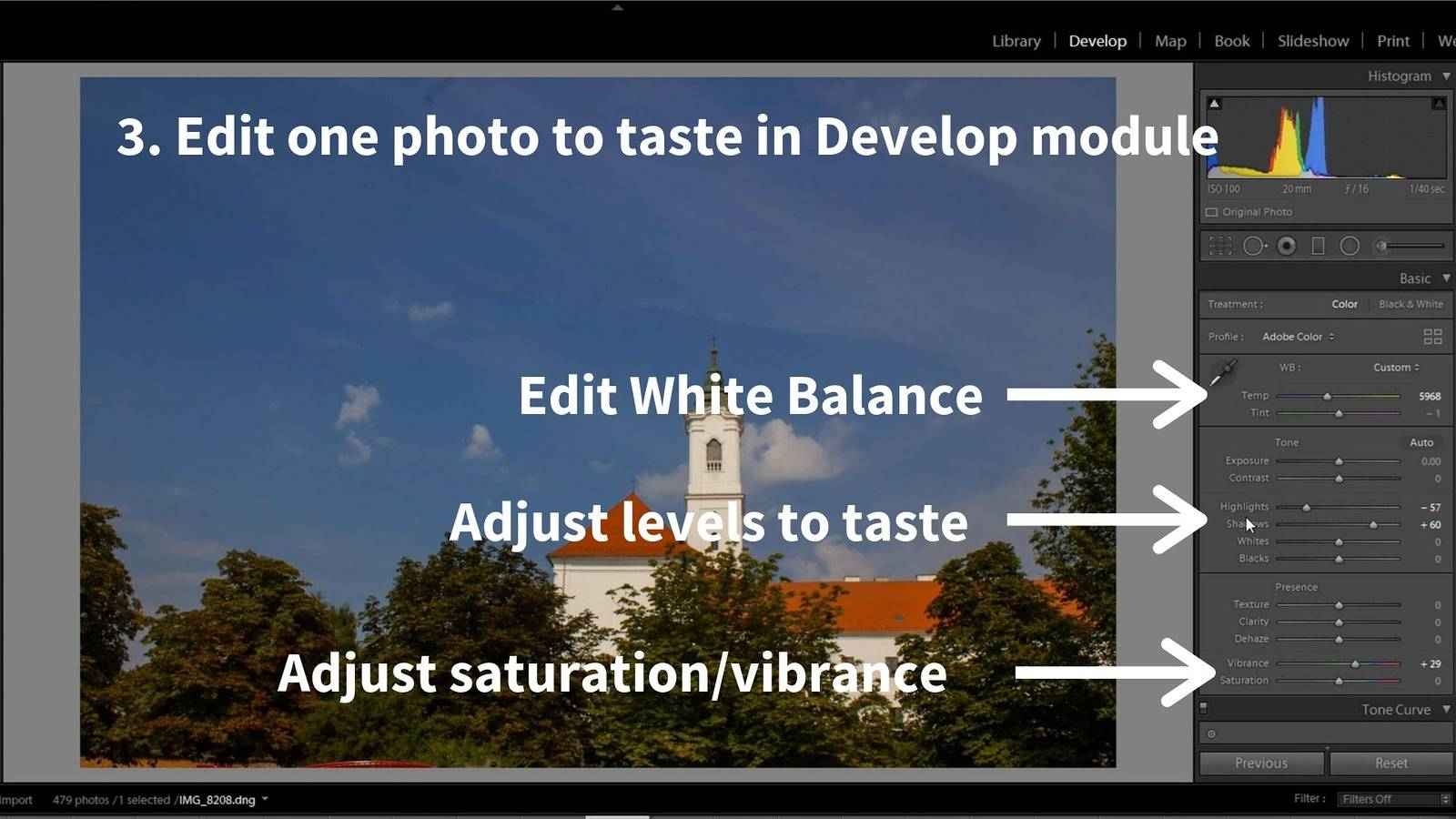 timelapse post-processing lightroom develop module editing_2