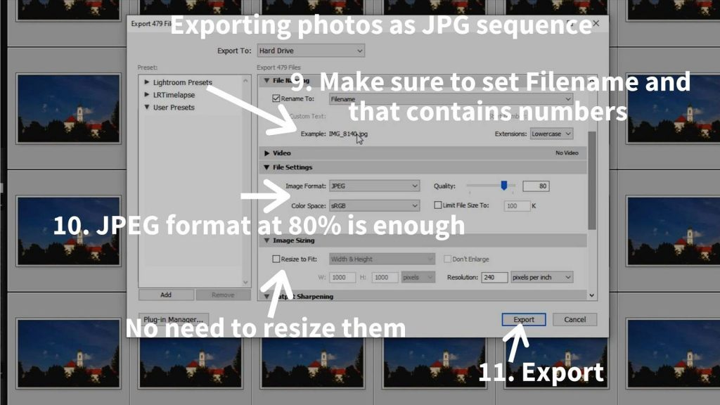 timelapse post-processing lightroom exporting filenaming