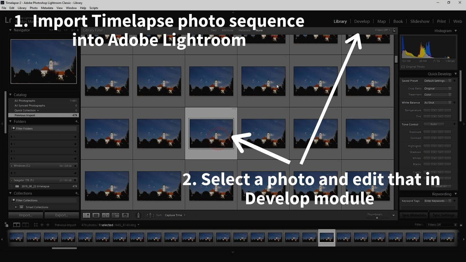 timelapse post-processing lightroom sequence