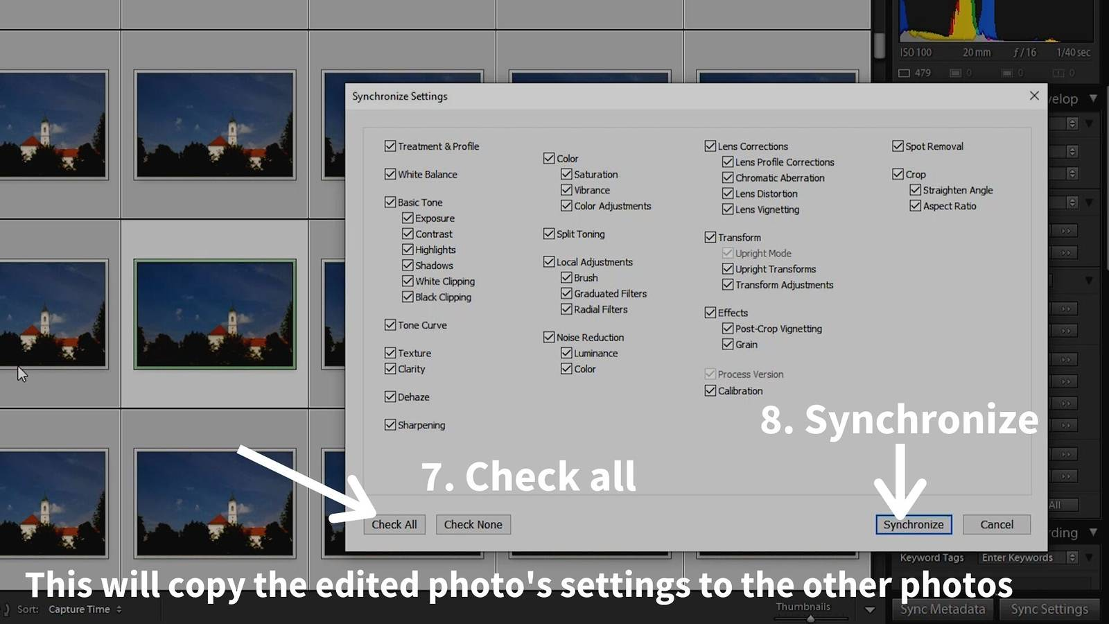 timelapse post-processing lightroom sync settings window