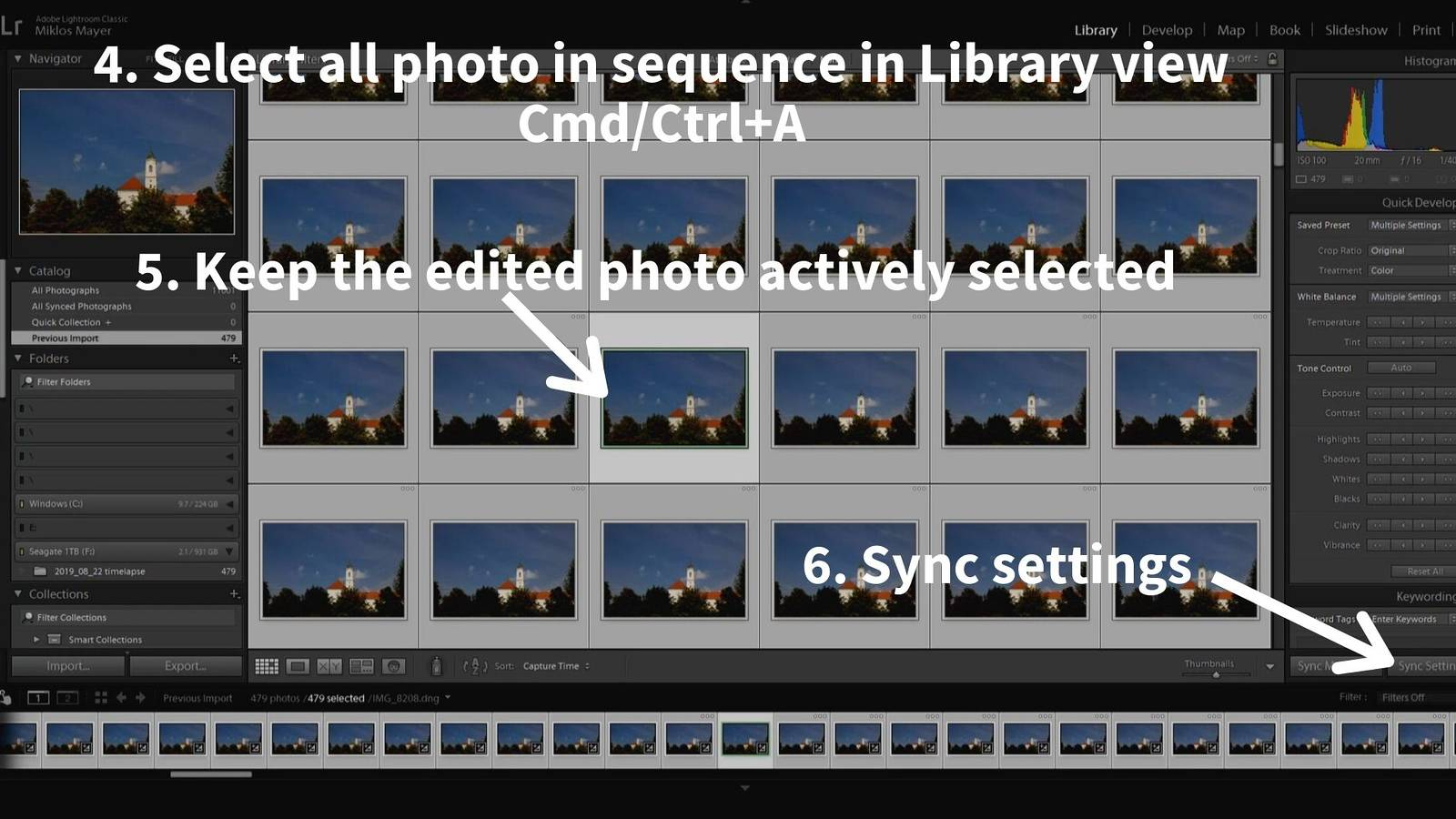 timelapse post-processing lightroom sync settings