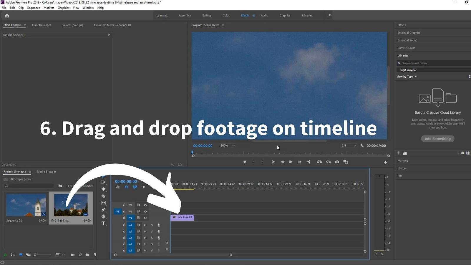 timelapse post-processing premiere drag footage on timeline_2
