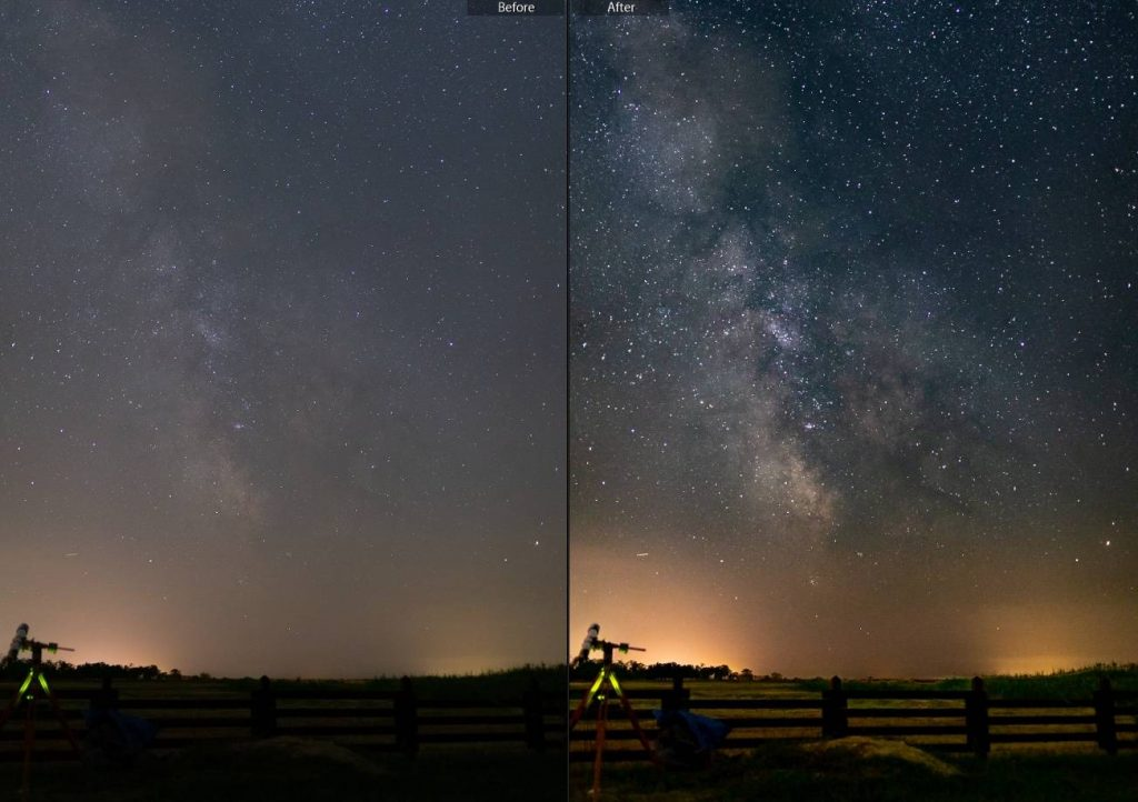 Before-after process with Lightroom nigh preset pack