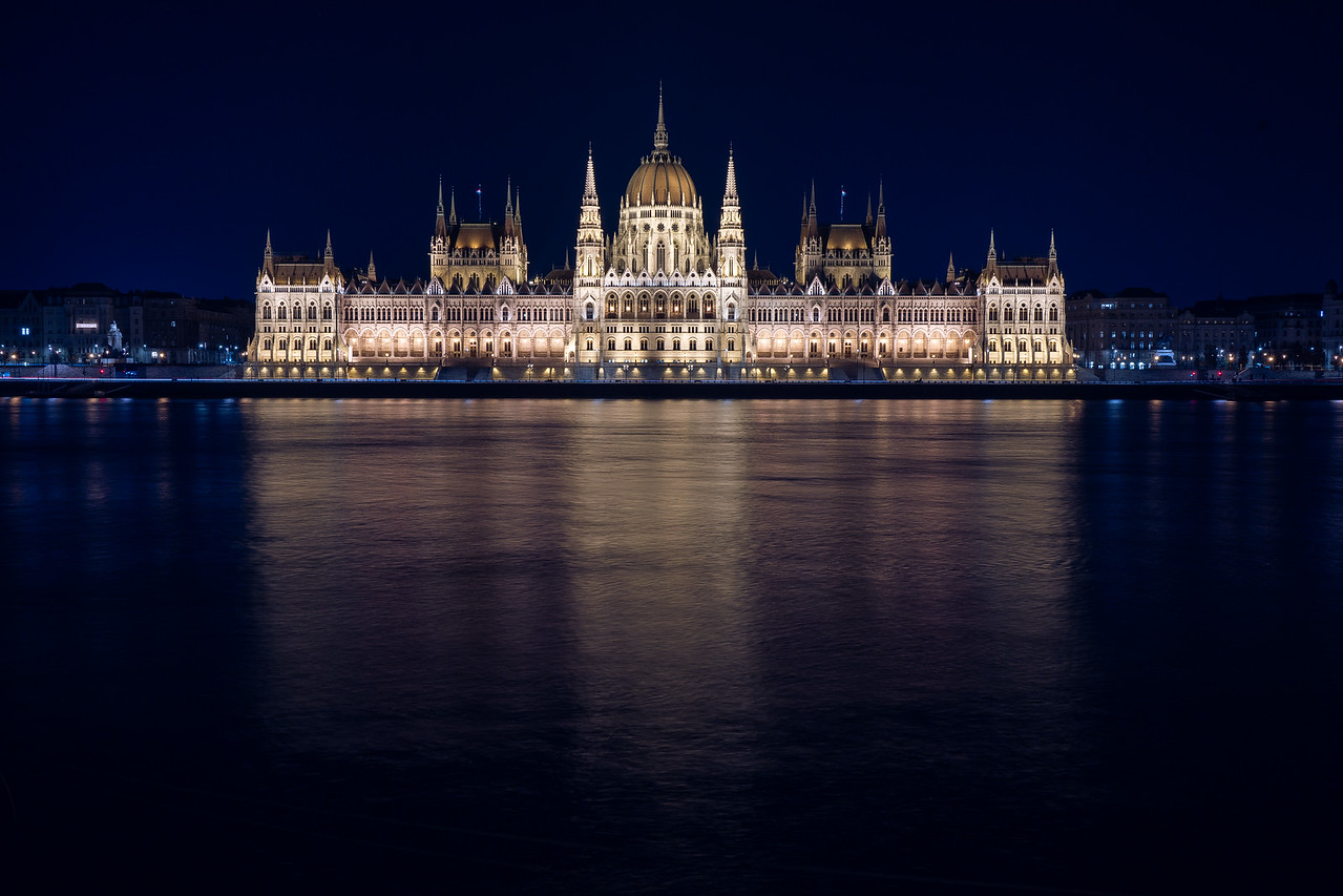 Parliament at night with reflection