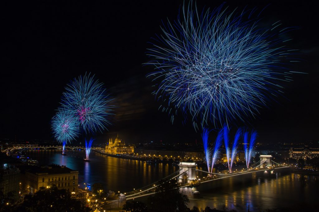 budapest fireworks st stephens day chain bridge