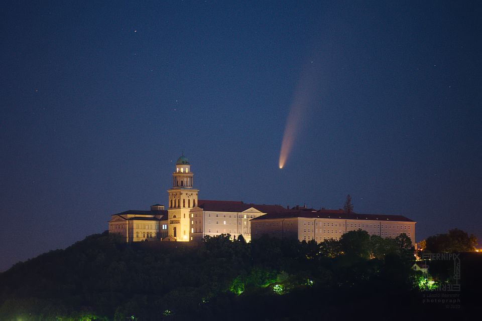Beinrohr Laszlo NEOWISE comet over Pannonhalma, Hungary