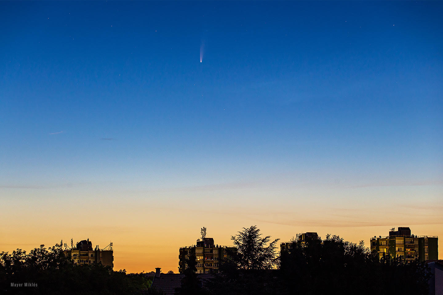 comet NEOWISE at dawn at blue sky